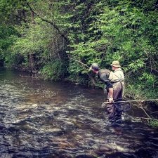 Top Water Trips during our Fly Fishing Lesson for Trout on French Creek