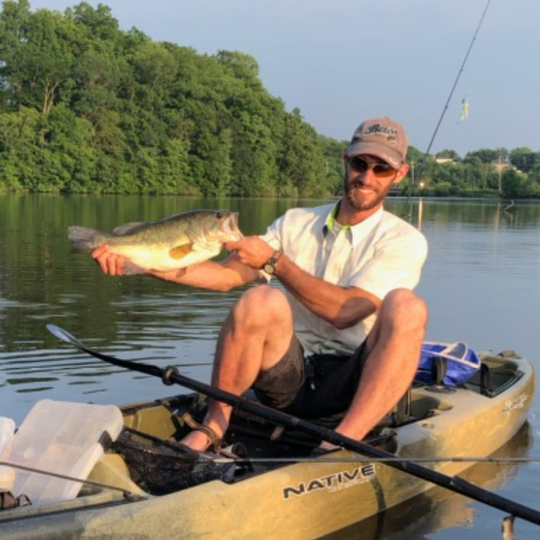 Kayak Fly Fishing Trips for Bass on Marsh Creek Lake in Pennsylvania with Top Water Trips Pennsylvania Fishing Guides