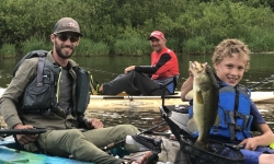 Ethan Kayak Fishing With Top Water Trips on Marsh Creek for Largemouth Bass