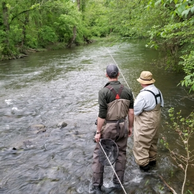 Fly Fishing Guide Kevin Moriarty teaching on French Creek with Top Water Trips