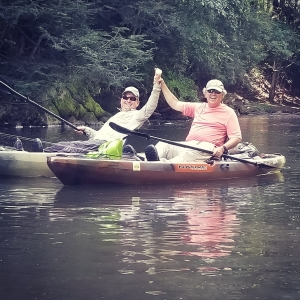two clients of Top Water Trips Kayak Fly Fishing on the Little Schuylkill