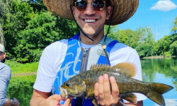 Boat fishing trip for smallmouth bass on the schuylkill river with top water trips, llc